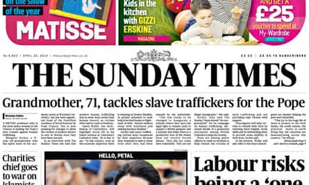 The Sunday Times headling referring to a university professor as a 'grandmother'