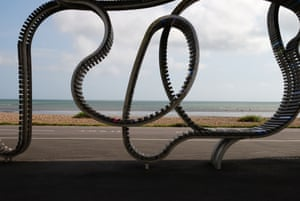The Long Bench on the seafront promenade in Littlehampton, West Sussex.