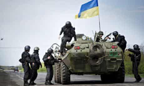 Ukrainian soldiers north of Slavyansk