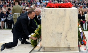 Tony Abbott lays a wreath during the Anzac Day ceremony at the Australian War Memorial in Canberra.