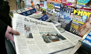 US newspapers and magazines at a newsstand