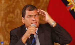 Ecuador's president Rafael Correa speaks to members of the foreign press at the government palace in Quito, Ecuador.