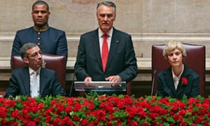 Portugal's president Cavaco Silva (centre), delivers a speech on the 40th anniversary of the carnation revolution that helped bring an end to almost half a century of authoritarian rule.