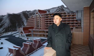 In this undated picture released by North Korea's official Korean Central News Agency (KCNA) in December, Kim Jong-un inspects the Masik Pass Hotel during the construction of the ski resort.
