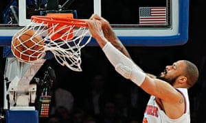 New York Knicks' Chandler stuffs the ball against Golden State Warriors in their NBA basketball game