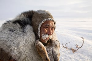 Grisha Rahtyn, a Chukchi reindeer herder, iced up at -30 C after working with his reindeer during the winter.Chukotskiy Peninsula, Chukotka, Siberia,