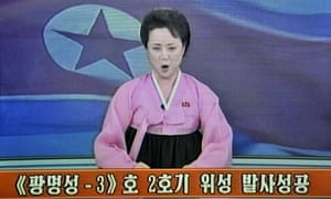 This screen grab taken from North Korean TV on December in 2012 shows a presenter reading a statement on the country's long-range rocket launch.