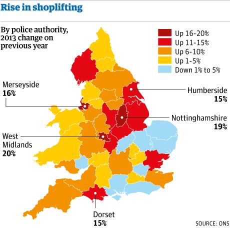 UK shoplifting map