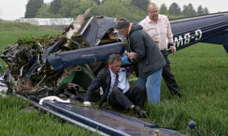Nigel Farage having escaped dying when a plane towing a Ukip banner crashed on election day 2010