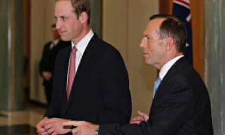 The Duke of Cambridge and Tony Abbott at Parliament House in Canberra