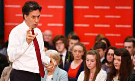 Labour Leader Ed Miliband at a meeting in Motherwell as he campaigns against Scottish independence