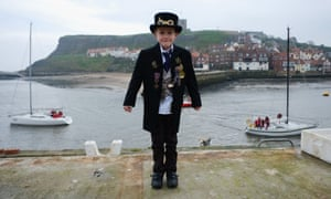 Young Steampunk Robin Middlehurst, 8, from Cheshire shivers on the shore.