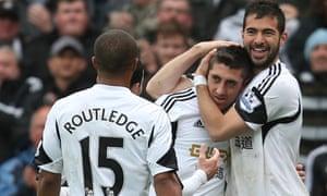Pablo Hernandez celebrates scoring Swansea's third goal against Aston Villa.