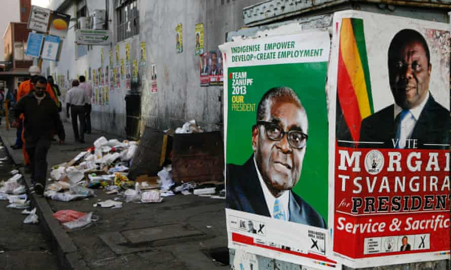 Election posters for the 2013 campaign in which Morgan Tsvangirai was again defeated by Robert Mugabe.