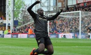 Yaya Touré celebrates a fantastic goal on his return from injury.