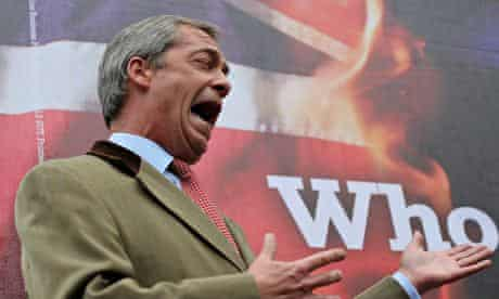 Ukip's leader, Nigel Farage, campaigning for the European elections.