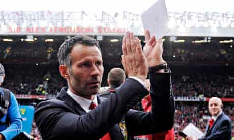 Ryan Giggs takes his seat in the dugout for the first time for Manchester United v Norwich City.