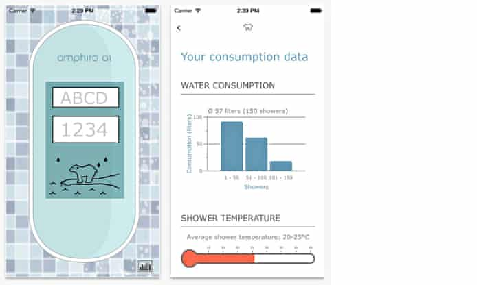 Screen shots of a shower temperature