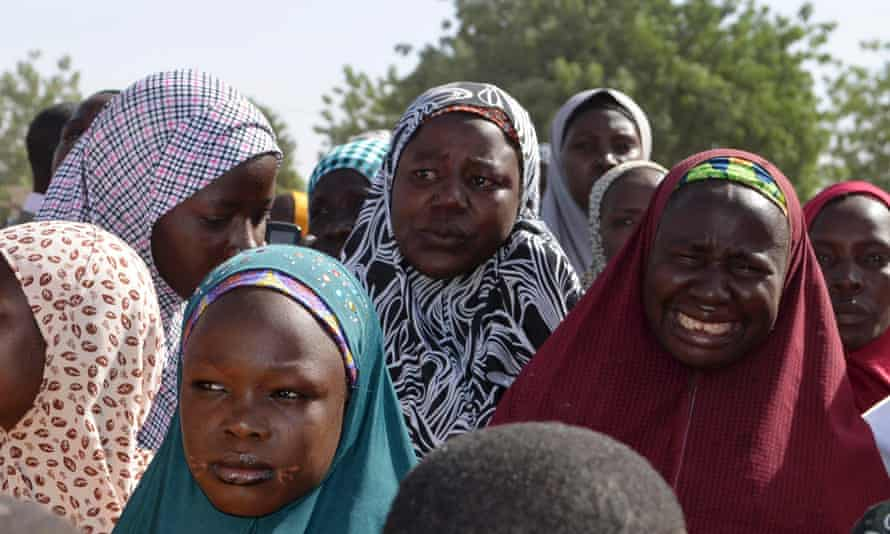 Mothers of kidnapped school girls in Nigeria during a meeting with the Borno State governor in on 22 April