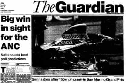 Senna - front page of death