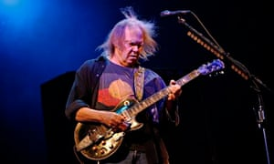 Canadian singer Neil Young performs at the Glastonbury Festival 2009 in south west England