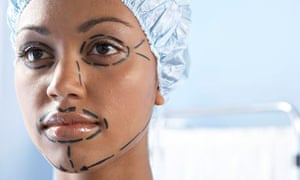 A young woman prepared for cosmetic surgery