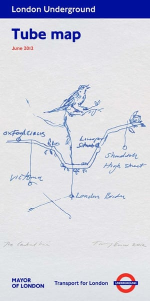 June 2012  Tube map covers  Tracey Emin  The central line
