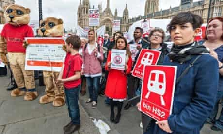 HS2 protesters in front of parliament