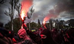 Pro-Ukrainian rally in Donetsk, Ukraine - 28 Apr 2014