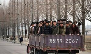 North Koreans commute to work in Pyongyang.