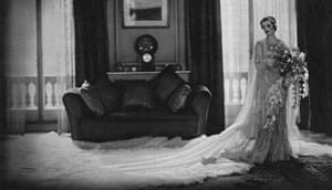 Silk satin wedding dress designed by Norman Hartnell 1933. Given and worn by Margaret, Duchess of Argyll.