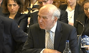 Vince Cable at the business committee hearing