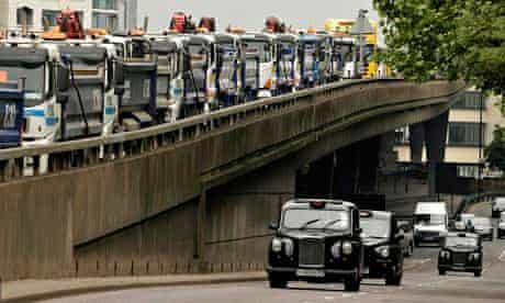 Diesel lorries and cars London