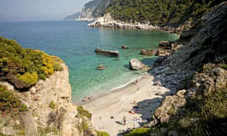 Agios Ioannis beach on the northern coast of the Greek island of Skopelos.