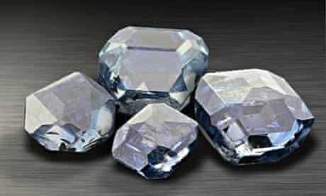 Uncut blue lab-grown diamonds