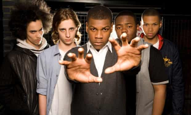 'Attack the Block' photographed in Soho , London . From left to right  Simon Howard , Alex Esmail and John Boyega (centre) , Leeon Jones and Franz Drameh.