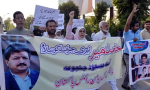Activists from the Defence of Human Rights Pakistan organisation protest in Islamabad against the shooting of journalist Hamid Mir. Mir, who hosts a prime-time current affairs talk show on the Geo News channel, survived being shot three times on April 19
