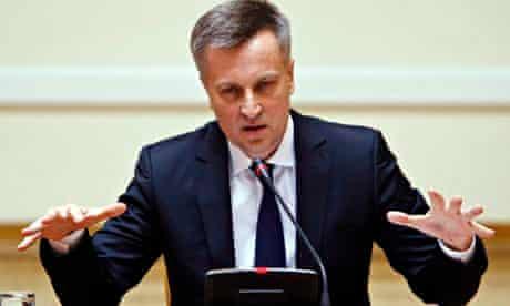 New head of the SBU Valentyn Nalivaichenko speaks at a news conference, in Kiev.