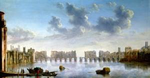 Old London Bridge, c. 1630 by Claude Jongh.