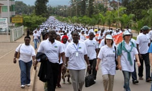 Residents in Kigali take part in a march for women before an international conference on the role of women in Rwanda's society.