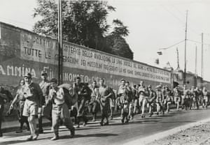"""""""Joyous Marchers, Italian POW on the Route to Messina"""", c. August 19, 1943."""