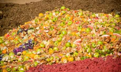 A colourful pile of food waste awaits composting