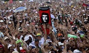 """Cheering fans at the """"Peace Without Borders"""" concert in Revolution square in Havana."""