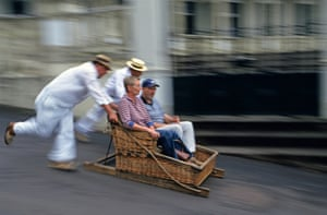 The Monte toboggan sled ride, Funchal, Madeira.