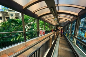 Hong Kong's Central-Mid-Levels escalator and walkway is the world's longest outdoor covered escalator system.