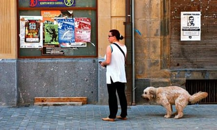 A dog defacates in the street Pamplona, Spain