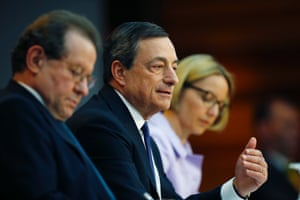 European Central Bank (ECB) President Mario Draghi (R) sitting next to Vice President Vitor Constancio speaks during the monthly ECB news conference in Frankfurt April 3, 2014.
