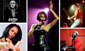 Dead but not forgotten: (clockwise) John Lennon, Whitney Houston, Joe Strummer, Marvin Gaye and Aali