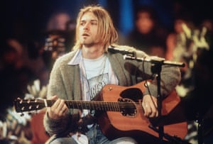 Kurt Cobain of Nirvana during the taping of MTV Unplugged at Sony Studios in New York City, 1993.