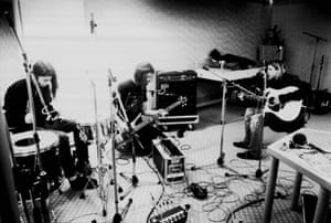 Dave Grohl, Krist Novoselic and Kurt Cobain recording in Hilversum Studios. Photograph: Michel Linssen/Redferns/Getty Images